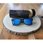 Lunettes de soleil monture bois verres bleus