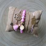 Lot de bracelet femme pas cher rose et or