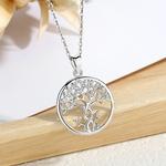 Collier arbre de vie design entrelacé argent et zirconium brillant