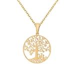 Collier pendentif chats arbre de vie or