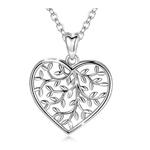 Collier coeur argent arbre de vie