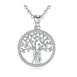 collier symbole amour couple arbre de vie argent zirconium