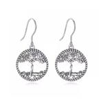 Boucles d'oreilles pendantes arbre de vie en argent silhouette