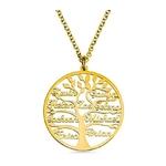 collier prénoms personnalisé or arbre de vie