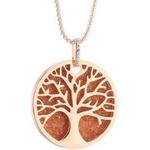 Collier disque couleur arbre de vie or sautoir grand pendentif