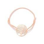 Bracelet cordon coulissant rose et or rose arbre de vie féminin et discret