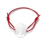 Bracelet cordon arbre de vie rouge et argent ajustable