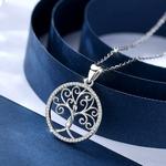 collier pendentif arbre de vie stylisé spirales femme