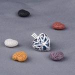 Collier pendentif cage boule lave volcanique coeur huiles essentielles