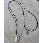 Collier pendentif animal en bois sautoir réglable