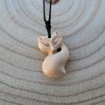 Collier sautoir pendentif en bois brut renard