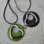 Collier coeur en bois et métal sautoir nature
