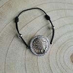 Bracelet arbre de vie argent sur cordon noir