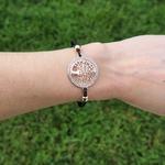 Bracelet cordon ajustable arbre de vie or et noir