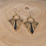 Boucles doreilles géométriques en bois or et noir