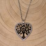 Grand sautoir coeur argent et strass