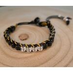 Bracelet pour homme noir bois et tissu