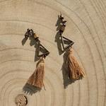 Boucles doreilles pendantes franges bohèmes perle en bois