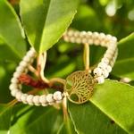 Bracelet arbre de vie pierres naturelles blanches howlite et or