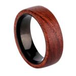 Bague de mariage pour homme en bois rouge et titane noir