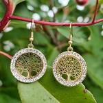 Boucles pendantes arbre de vie or