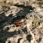 bague de mariage opale et bois