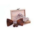 Noeud papillon original fleuri en bois
