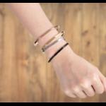 Bracelet personnalisé jonc or argent noir