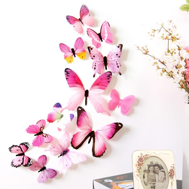 Lot de 12 papillons 3D