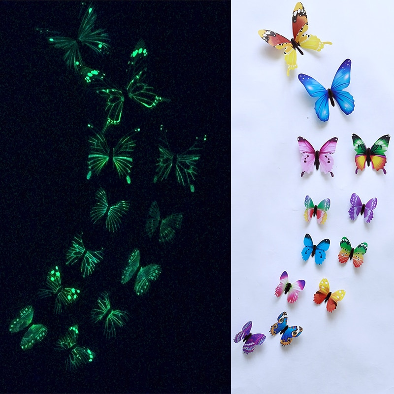 Lot de 12 papillons 3D phosphorescents