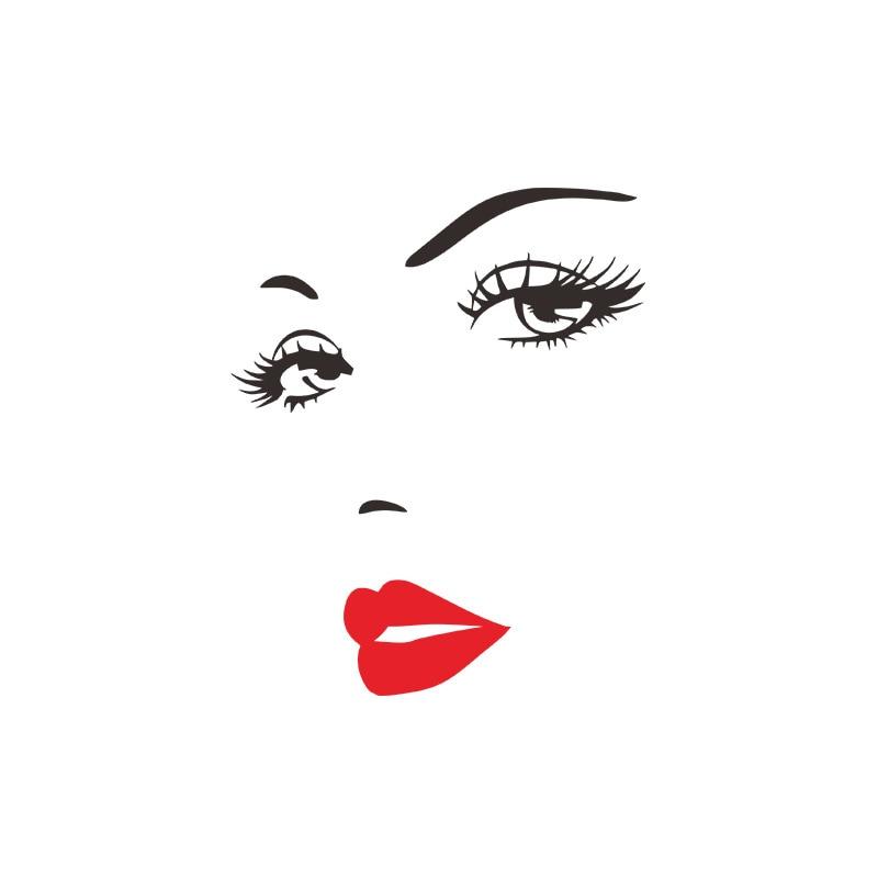 Sexy-cils-et-l-vres-rouges-sticker-mural-pour-salon-chambre-fond-d-corations-autocollants-papier