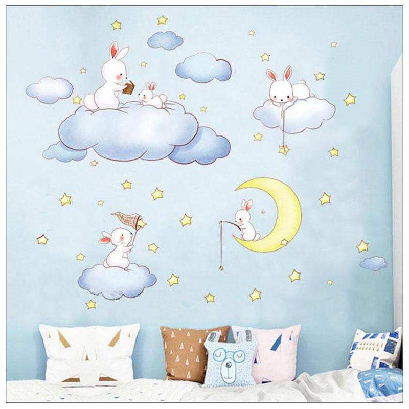 Sticker Lapins dans les nuages