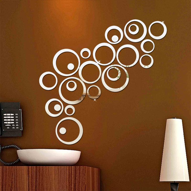 Lot de 24 stickers Cercles 3D miroir