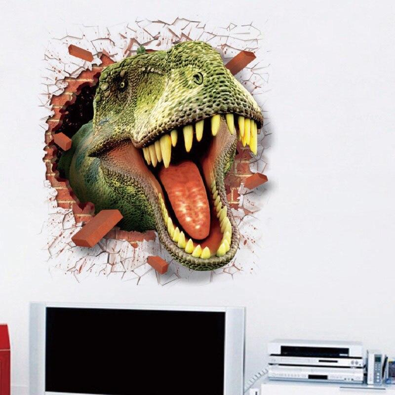 Sticker trompe l\'oeil T rex