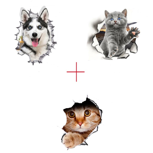 Lot de 3 stickers Trompe l oeil Animaux