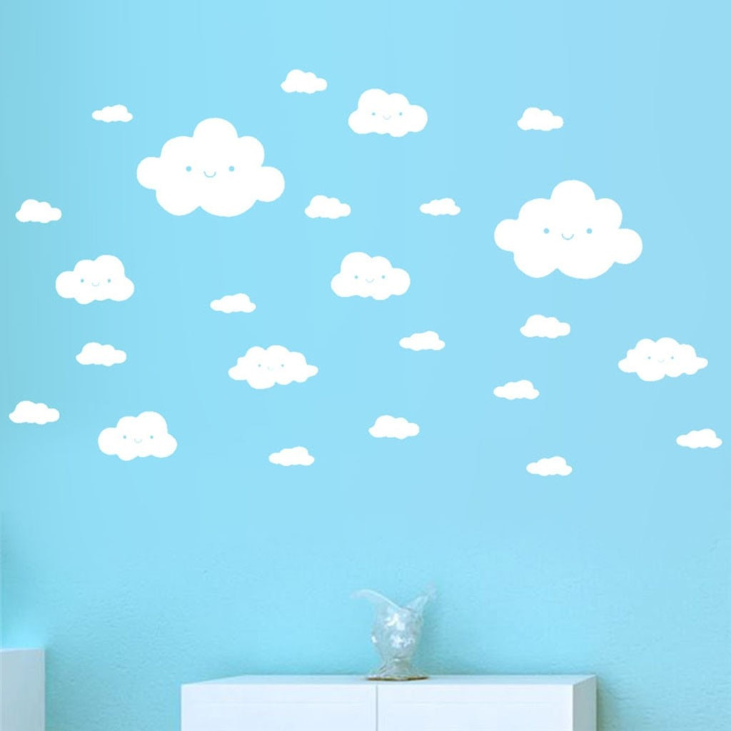 Lot de 24 stickers Nuages