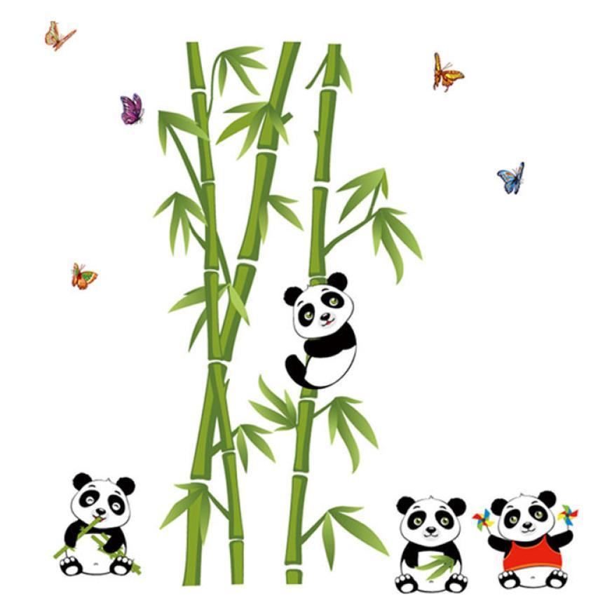 Vert-bambou-Panda-for-t-Stickers-muraux-vinyle-mat-riel-d-coratif-Mural-Art-pour-salon