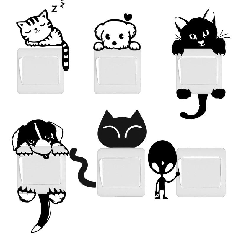 Stickers pour interrupteurs chat chien et divers