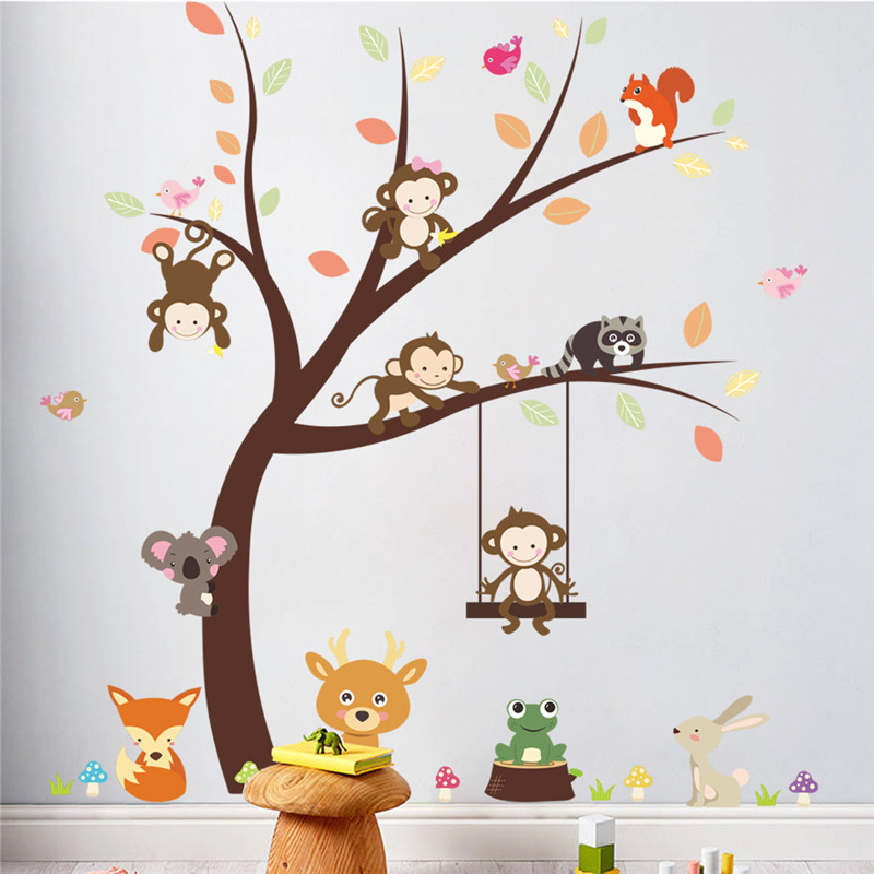 Sticker Arbre singes