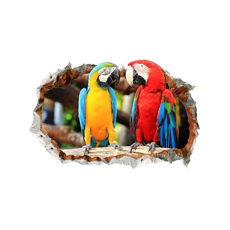 Sticker Trompe l\'oeil Perroquets