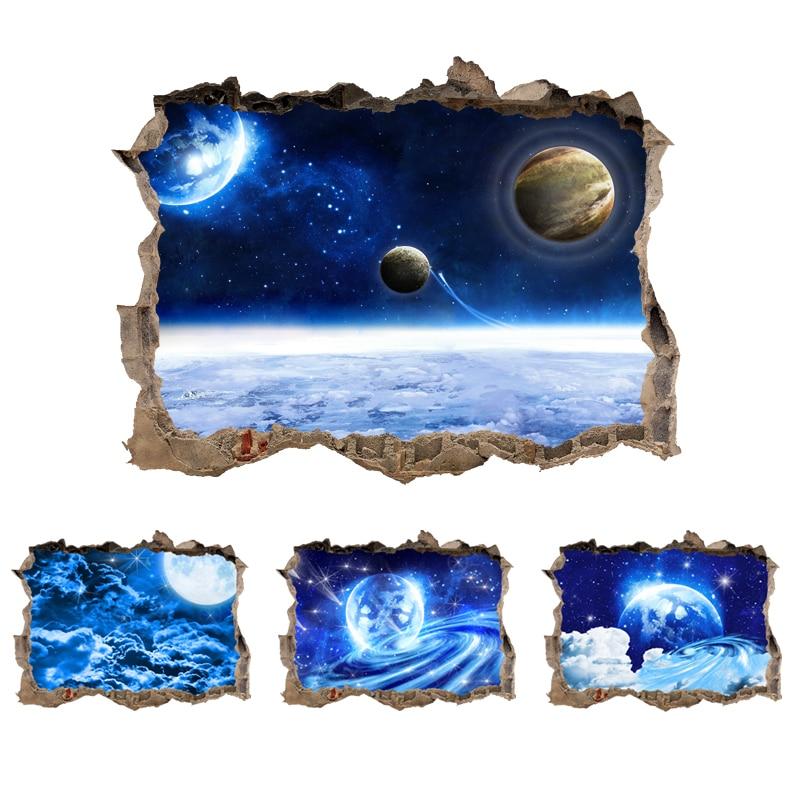 Stickers Trompe l\'oeil Planètes