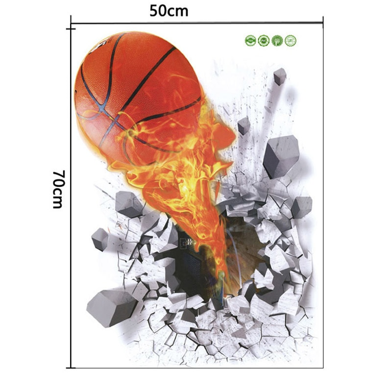 Sticker Trompe l\'oeil Ballon de basket