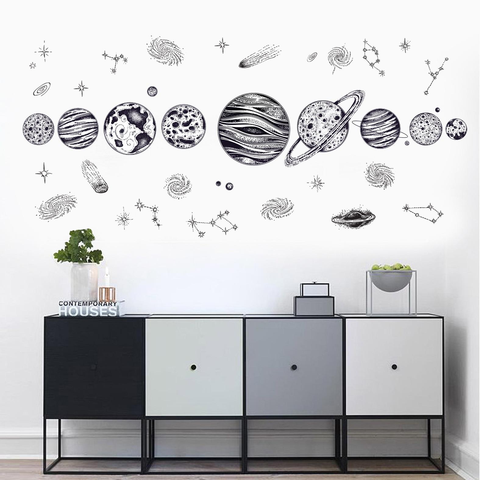 Sticker Système solaire noir et blanc