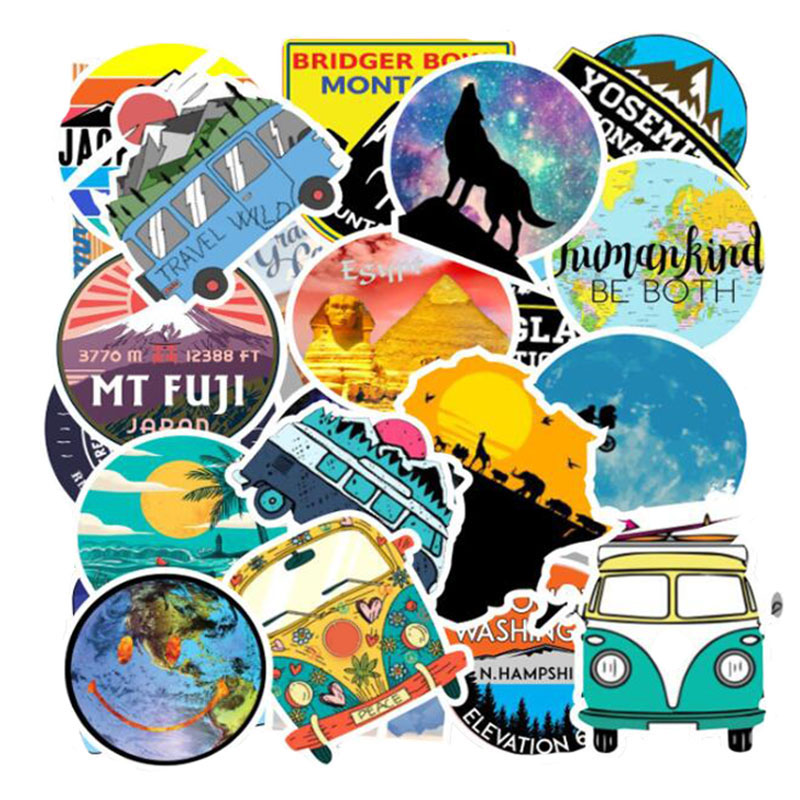 Lot de 50 mini stickers Voyage