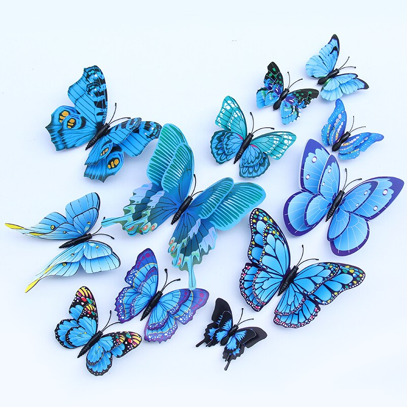 Lot de 12 papillons doubles ailes 3D