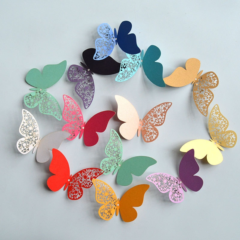 Lot de 12 papillons couleur 3D