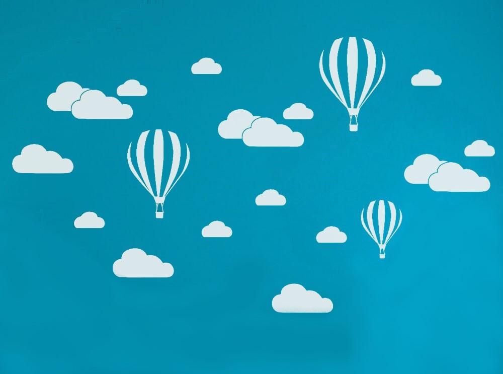 Sticker Mongolfières et nuages