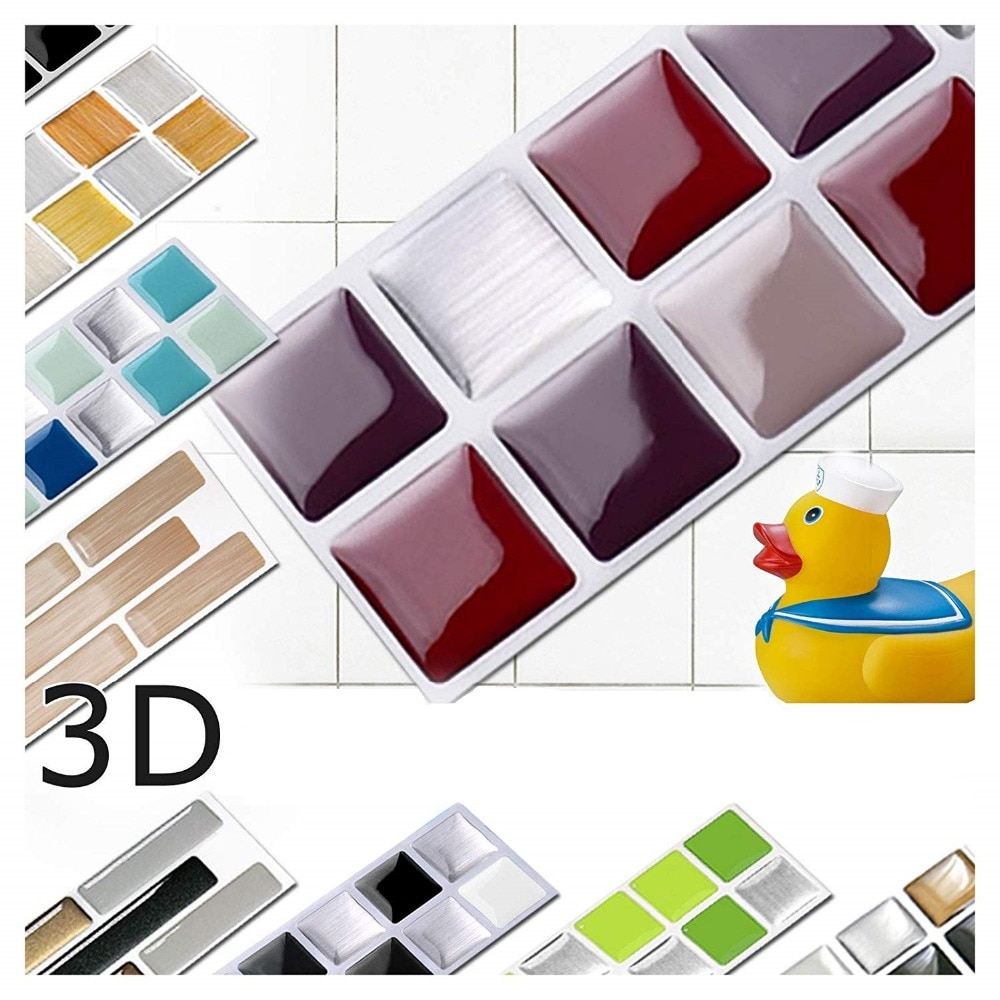 Lot de 6 stickers Petits carreaux 3D
