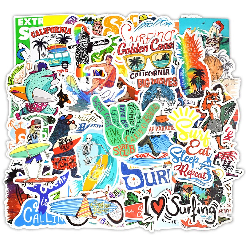 Lot de 50 mini stickers Surf