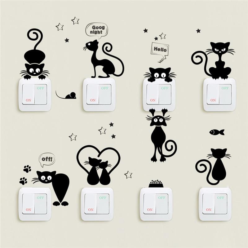 Lot de neuf stickers chats